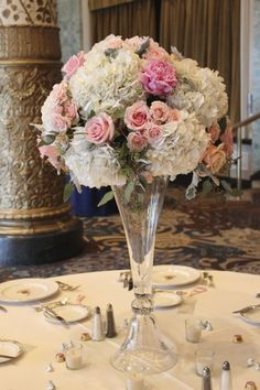 Tall Floral Centerpiece of white hydrangeas, blush roses and peonies