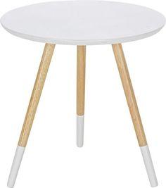 Kisasztal: lakkozott fehér MDF asztallappal és natúr- fehér tömör kaucsukfa lábakkal, terhelhetőség: kb. Max. 5 kg-ig, Szé/Ma/Mé: kb. 48/46/48cm