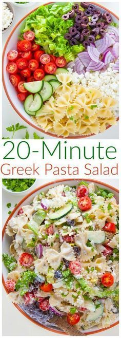 Packed with fresh ingredients and tons of flavor, my Greek Pasta Salad is ready in just 20 minutes. Bonus: The leftovers taste even better the next day! Packed with fresh ingredients and tons of flavor, my Greek Pasta Salad is ready in just 20 minutes! Barbecue Sides, Barbecue Side Dishes, Greek Salad Pasta, Soup And Salad, Easy Pasta Salad Recipe, Pasta Recipes, Soup Recipes, Pasta Salad Ingredients, Lasagna Recipes