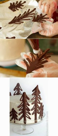 Decorate Your Cake Using These Chocolate Christmas Trees