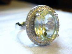 4.56 CTTW GEN DIAMOND/GREEN AMETHYST & CREATED W SAPPHIRE STERLING SILVER RING