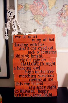 Halloween Poem...eye of newt, wing of bat...I could do on pallet wood or even cardboard for the window.....on canvas..whatever... Halloween Projects, Halloween Fun, Halloween Cards, Vintage Halloween, Halloween Treats, Holidays Halloween, Halloween Pallet, Halloween Decorations, Halloween Scrapbook