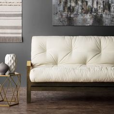 This futon mattress features a cotton wrapped foam construction. The durable cotton cover complements any style. Materials: Cotton, foam Available sizes: Queen Colors options: Ivory, khaki, black, nav