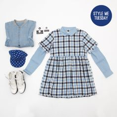 Style me Tuesday! Blue hues for blue skies!  Blue Check Smock Dress - http://www.thewhitepepper.com/products/t-shirt-smock-dress-blue-check Blue Denim Bomber Jacket - http://www.thewhitepepper.com/products/t-shirt-smock-dress-blue-check