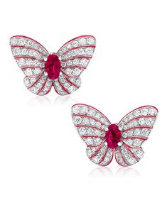Cellini Jewelers Butterfly Earrings with Rubies and Diamonds These easy to wear, unique butterfly earrings, are composed of carats of round brilliants which surround carats of oval cut rubies. The delicacy and vibrancy of the butterfly is further Insect Jewelry, Butterfly Earrings, Animal Jewelry, Diamond Gemstone, Diamond Jewelry, Ruby Earrings, Diamond Earrings, Red Jewelry, Butterfly Design