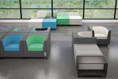 Cuadro is the building block for your next design. Use it individually or shape lounge space in three dimensions with geometric cube chairs that are square for design, yet round for comfort, square ottomans and tables.
