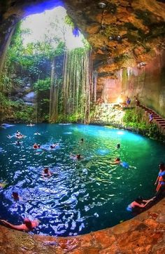 Been to this Cenote in Mexico but the water is not as blue as this picture shows. Still an incredible place to visit and spooky because they don't know what's at the bottom of the Cenote.