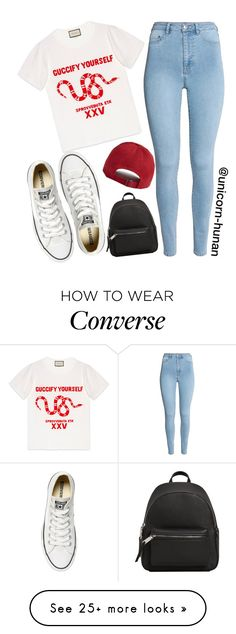 """Untitled #3082"" by unicorn-human on Polyvore featuring Gucci, Forever 21, Converse and MANGO"