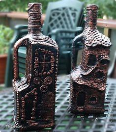 Декор предметов Аппликация Бутылка в которой кто живет? Бутылки стеклянные Глина Салфетки Тесто соленое фото 1