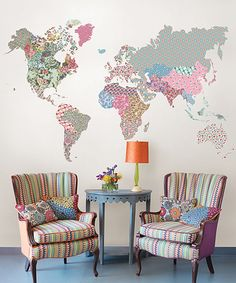 Brewster Home Fashions Boho World Map Giant Wall Art Decal | zulily