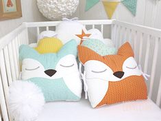 Items similar to Baby cot bumpers, wide, cloud pillows and fox, orange, soft mint green and white on Etsy Baby Cot Bumper, Baby Crib Bumpers, Baby Cribs, Cloud Cushion, Cloud Pillow, Baby Life Hacks, Woodland Decor, Fabric Toys, Baby Safety