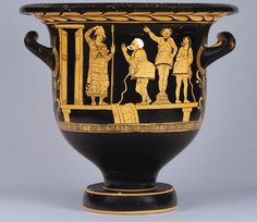 Vase Painting, temporary stage. The Choregos vase, J. Paul Getty Museum. The man at the door labeled Aigisthos represents tragedy. The man standing on a basket labeled Pyrrias represents comedy. The other two figures labeled Choregos represent theatrical backers.