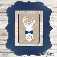 Deer Head Monogram Nursery Wall Art Deer Bowtie by SwankyDesignCo