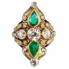 Victorian Gold, Diamond, Pearl & Emerald Ring circa 1880