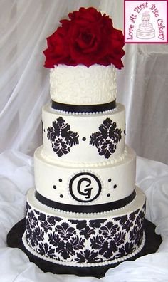 Stenciled Black White Red Wedding Cake
