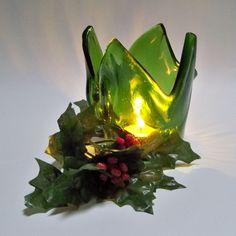 Kilnformed Recycled Wine Bottle Glass Candle Holder