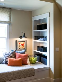 Furniture, Diy White Built In Bookshelves With Window Seat For Kids Bedroom Diy Mini Built In Bookshelves With Window Seat And Cushions Diy Built In Bookshelves With White Window Seat And Colorful Cushions: 20+ Wonderful DIY Built in Bookshelves with Window Seat
