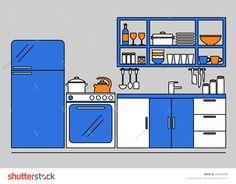Kitchen. Kitchen interior. Modern kitchen furniture. Isolated kitchen furniture on background. Kitchenware. Home kitchen. Refrigerator, oven, table. Flat line vector style illustration.