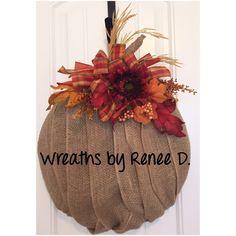 A personal favorite from my Etsy shop https://www.etsy.com/listing/472127031/burlap-pumpkin-wreath-door-decor-door
