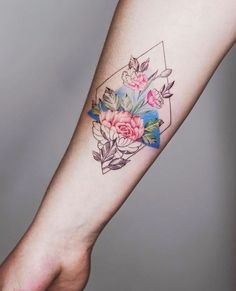 Geometrical flowers tattoo