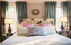 Master bedroom: like the mix of patterns + colors; mirrored side tables