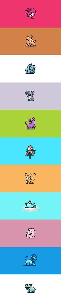 Cute animal logos #logo #logos #animal #animals #illustration #dog #bear  #rhino #polar #cute #koala #otter #hippo #dragon #fox #lion #sweet #simple #creative #playful #character #mascot #characters #mascots