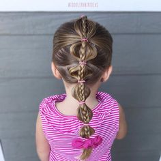 A simple bubble pony with an accent braid! Cute little bow from @valleygaldesigns