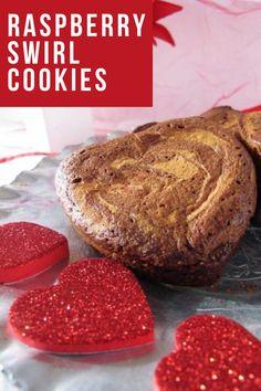 Valentine's Raspberry Swirl Cookies. Strawberry Brownies, Raspberry Cookies, Raspberry Cheesecake, Homemade Valentines, Valentine Treats, Sweet Desserts, Dessert Recipes, Peanut Butter Blossoms, Winter Dishes
