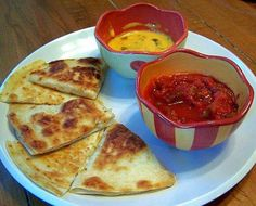 Quesadillas are really just grilled cheese sandwiches made using tortillas instead of bread. This Mexican quesadillas recipe makes a great kids recipe, because the flavors appeal to kids, and the quesadillas don't take long to cook.