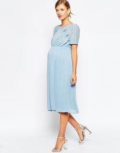 Image 4 of ASOS Maternity Embellished Midi Dress