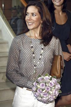 Crown Princess Mary of Denmark  ps I'm obsessed with this bouquet of flowers!