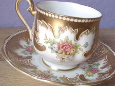 Antique 1940's Royal Albert cup and saucer gold by ShoponSherman