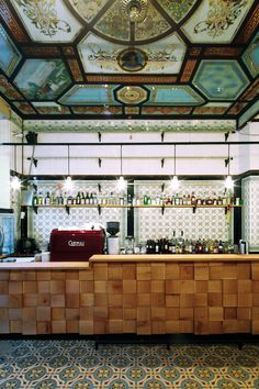 Michael Grzesiak transforms a century old butcher shop into a bar in Leipzig. The highly ornate interior retains its original Villeroy Boch ceramic tiles for a beautiful effect. Architecture Restaurant, Hotel Restaurant, Modern Restaurant, Bar Interior, Restaurant Interior Design, Restaurant Interiors, Cafe Bar, Commercial Design, Commercial Interiors