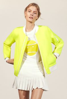 Color, Humor, and a Tennis-Ball Bomber at Tory Sport Nike Outfits, Sport Outfits, Fashion Outfits, Tennis Outfits, Fitness Outfits, Golf Outfit, Fashion Ideas, Sport Style, Tennis Fashion