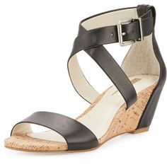Bcbgeneration Valisa Leather Wedge Sandal ($52) ❤ liked on Polyvore featuring shoes, sandals, leather ankle strap sandals, strap sandals, leather strap sandals, wedge heel sandals and cork wedge sandals