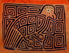 Kuna Indian Tribe Classic Vintage Mola Textile Art-Panama 16051315L