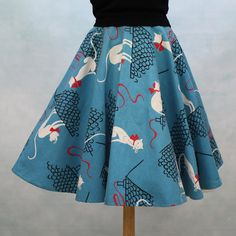 50's Cat Print Flannel Circle Skirt