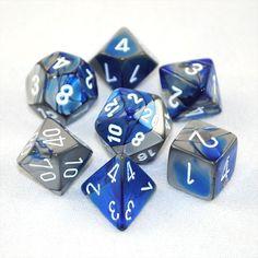 Set of 7 Chessex Gemini Blue-Steel w/white RPG Dice