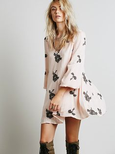 Free People Embroidered Austin Dress at Free People Clothing Boutique (IN BLACK W/ WHITE FLOWERS) $148