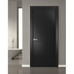 """SARTODOORS Best choice for bedroom, bathroom, or closet - warm look and bright colors, high-quality materials, and soft opening. The door made of solid pine wood with a honeycomb. The thickness of the door - 1 3/5"""". Door is not pre-drilled for the hardware. Assembly of frames and trims required. Door works with all swing directions. Rough opening can be calculated: """"door width"""" + 2 1/2""""; """"door height"""" + 2"""". Set includes door slab; - trims (2.95"""" wide); - frames (for wall thickness from 4"""" to… Contemporary Interior Doors, Grey Interior Doors, Dark Doors, Grey Doors, Wooden Door Hangers, Wooden Doors, Flush Doors, Inside Doors, Solid Doors"""