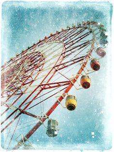 "Vintage Film Photography ""Wonder Wheel"" Ferris Wheel - Whimsical Carnival Print - Colorful Art Print Stars Blue Sky on Etsy, $12.00"
