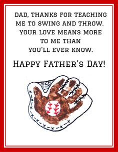 Handprint Baseball Father's Day Poem Printable - Crafty Morning - This is one of my favorite printables yet! For all the little boys who learned how to play baseball - Fathers Day Poems, Fathers Day Crafts, Happy Fathers Day, Gifts For Father, Daddy Poems, Uncle Gifts, Dad Gifts, Mothers Day Gifts Toddlers, Toddler Gifts