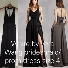 """White by Vera Wang prom/bridesmaid dress Black, size 4, I had it hemmed for 3.5"""" heels and I'm 5'5"""". Vera Wang Dresses Prom"""
