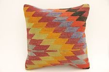 "Turkish Kilim Rug Pillow Cover Zigzag Style Multicolored 16"" X 16"" (40x40 cm)"