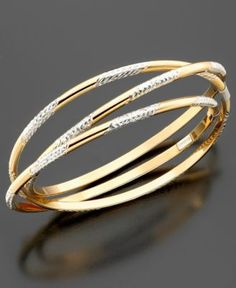 14k Gold Over Sterling Silver Three Interlocking Diamond-Cut Bangle Bracelets - Bracelets - Jewelry & Watches - Macy's