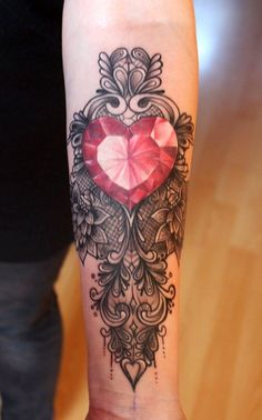 crystal lace jewel heart tattoo tattoo s piercing s pinterest tattoos lace tattoo and. Black Bedroom Furniture Sets. Home Design Ideas
