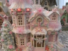 Shabby Pink Victorian Lighted Musical Christmas Village House Chic Glitter