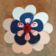 Red,white,blue flower made with cricut flower shoppe cartridge