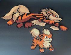 Arcanine and Growlithe Pokemon Perler Bead by RatedEforEveryone