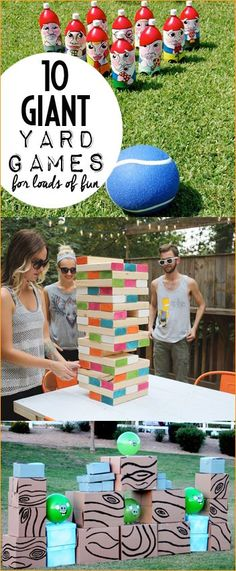 10 Giant Yard Games. Outdoor games for all ages. Fun games and activities for birthday parties, BBQ's and reunions. DIY games on a large scale! Blow up your game boards for loads of fun!